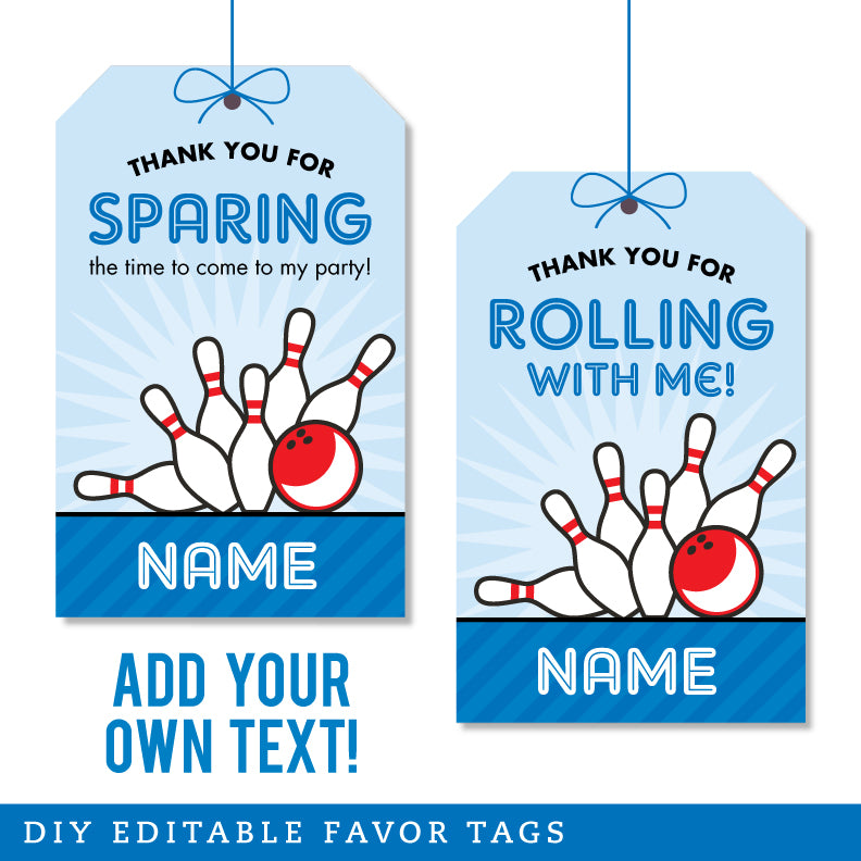 Blue Bowling Party Editable Favor Tags (INSTANT DOWNLOAD)