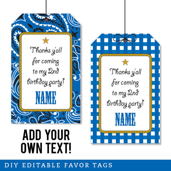 Blue Country Western Party Editable Favor Tags (INSTANT DOWNLOAD)