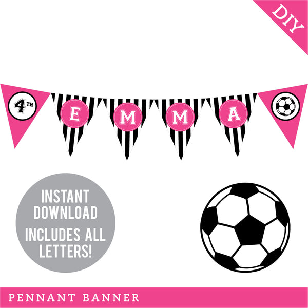 Pink Soccer Party Pennant Banner (INSTANT DOWNLOAD)