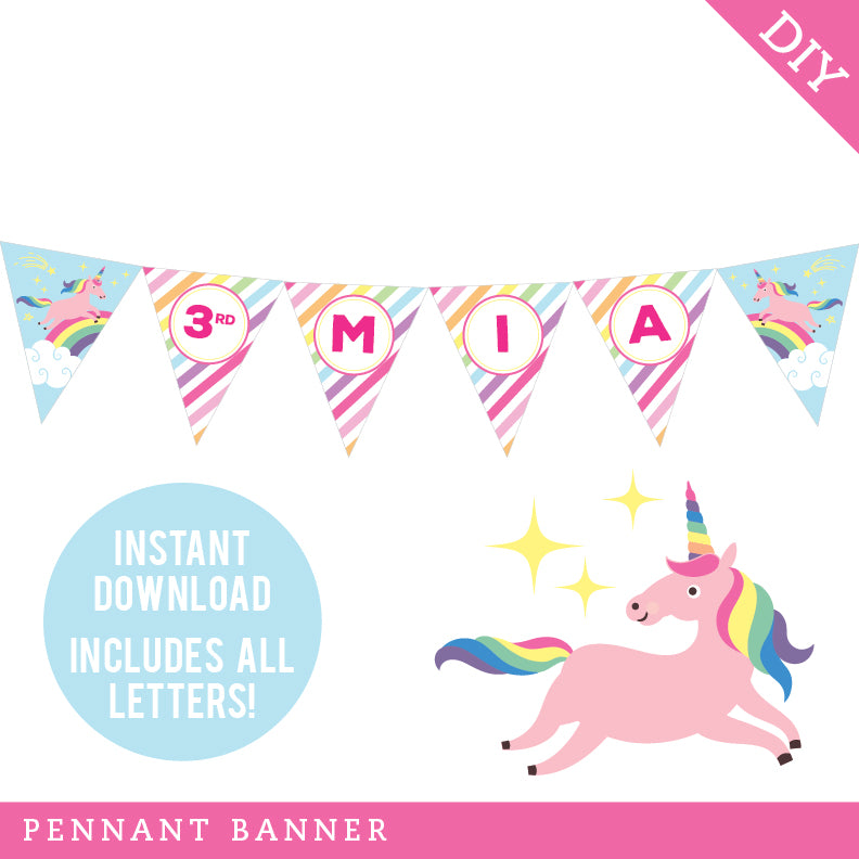 Unicorn Party Pennant Banner (INSTANT DOWNLOAD)