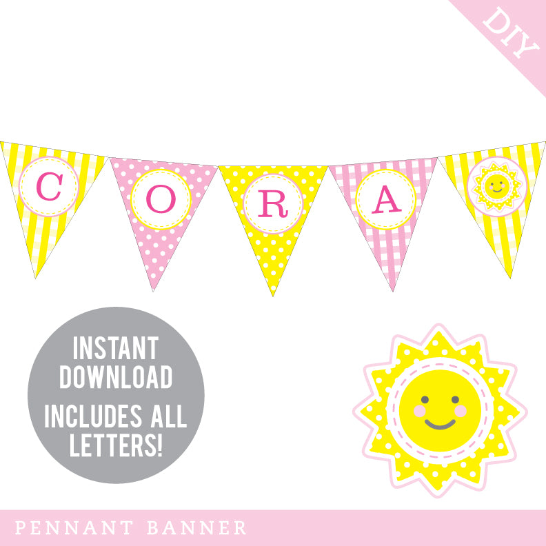 Sunshine Party Pennant Banner (INSTANT DOWNLOAD)
