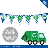Blue Garbage Truck Party Pennant Banner (INSTANT DOWNLOAD)