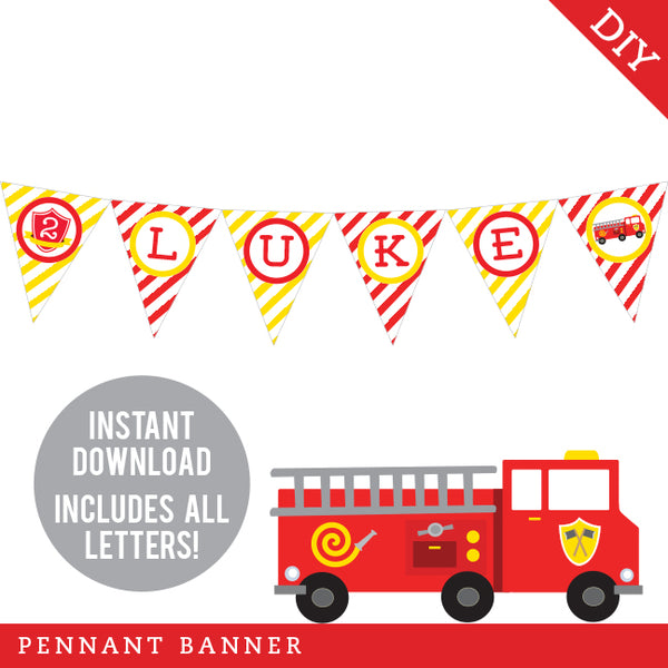 Fire Truck Party Pennant Banner (INSTANT DOWNLOAD)