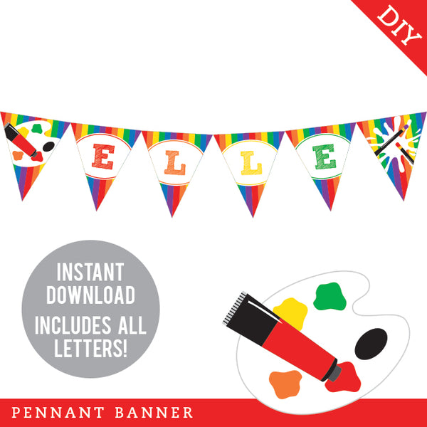Art Party Pennant Banner (INSTANT DOWNLOAD)