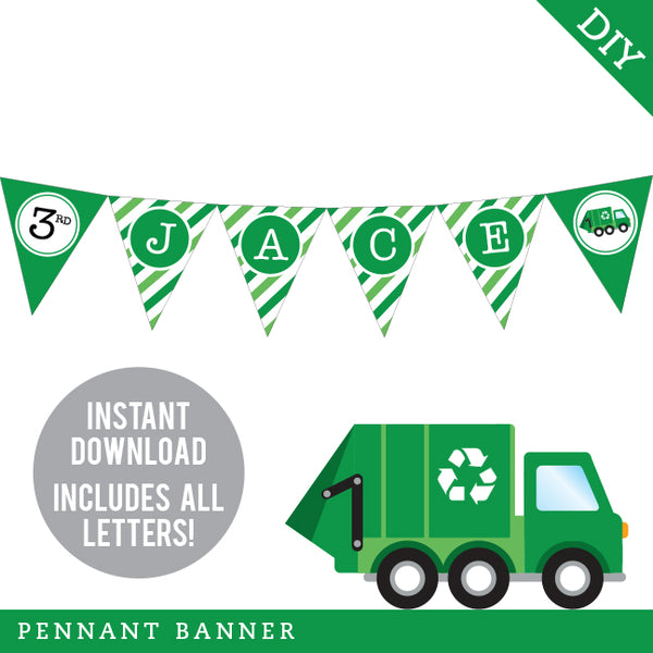 Garbage Truck Party Pennant Banner (INSTANT DOWNLOAD)