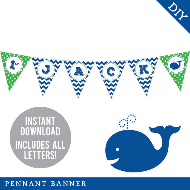 Whale Party Pennant Banner (INSTANT DOWNLOAD)