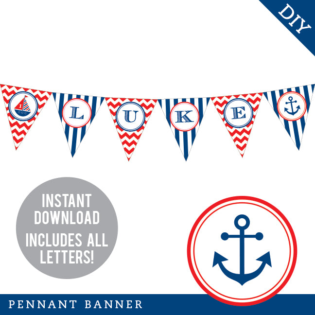 Nautical Party Pennant Banner (INSTANT DOWNLOAD)