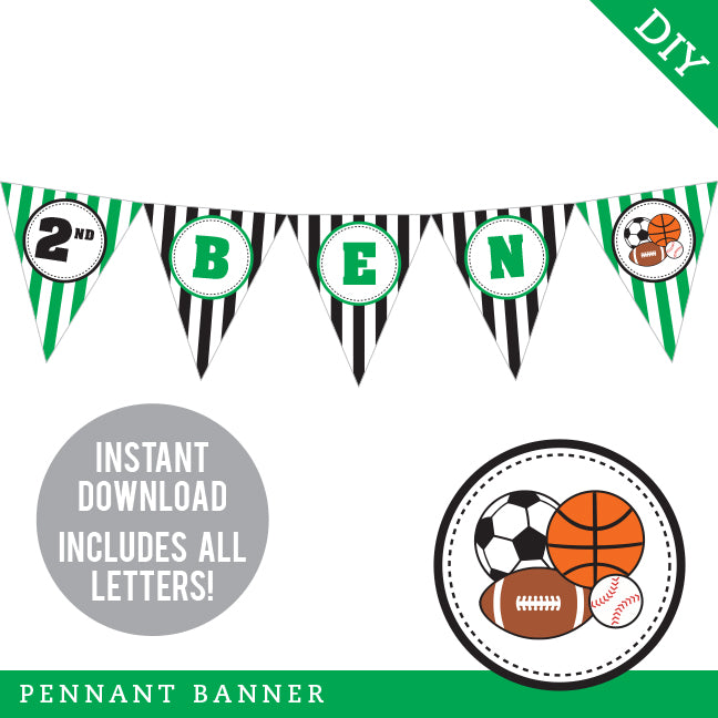 Green Sports Party Pennant Banner (INSTANT DOWNLOAD)