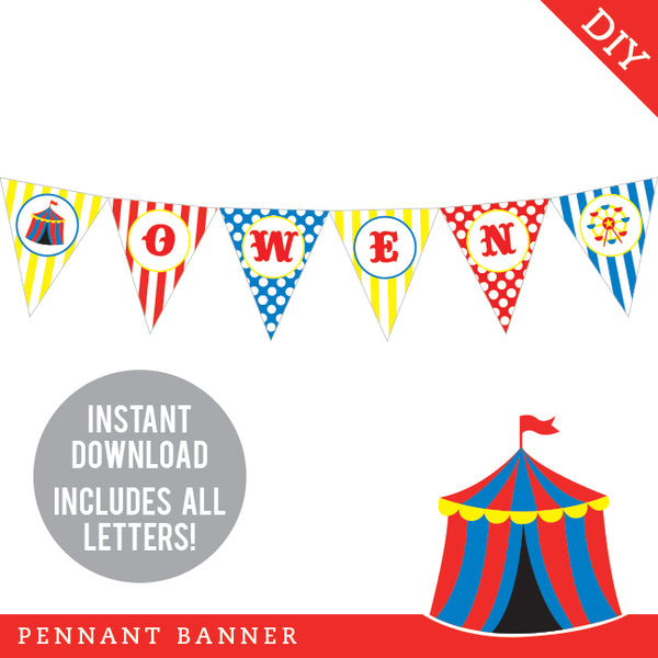 Carnival Party Pennant Banner (INSTANT DOWNLOAD)