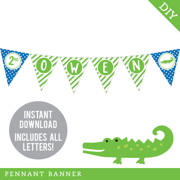 Alligator Party Pennant Banner (INSTANT DOWNLOAD)