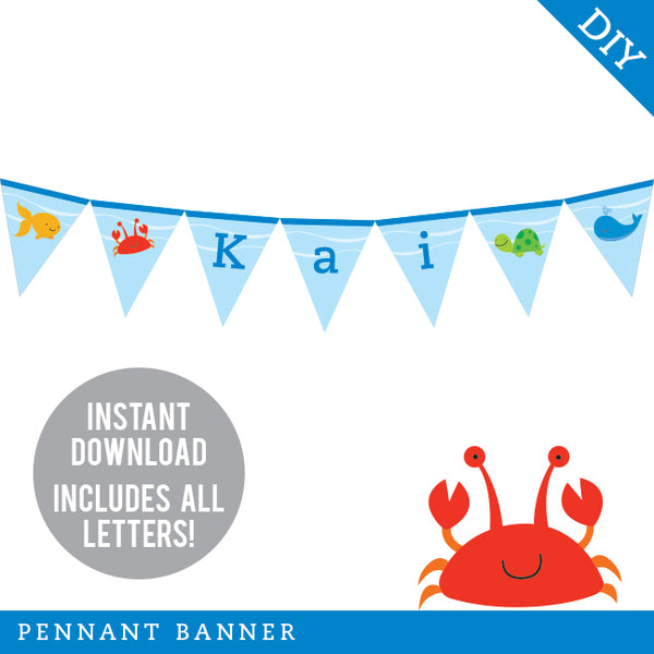 Under the Sea Party Pennant Banner (INSTANT DOWNLOAD)