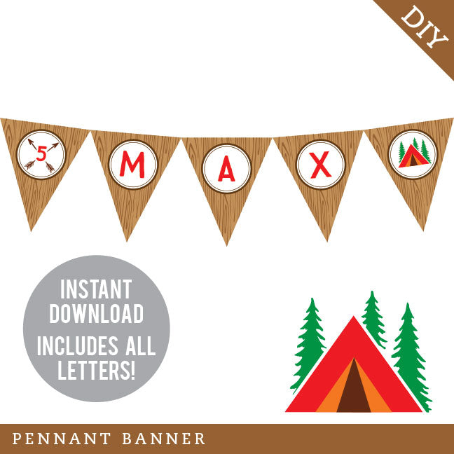 Camping Party Pennant Banner (INSTANT DOWNLOAD)