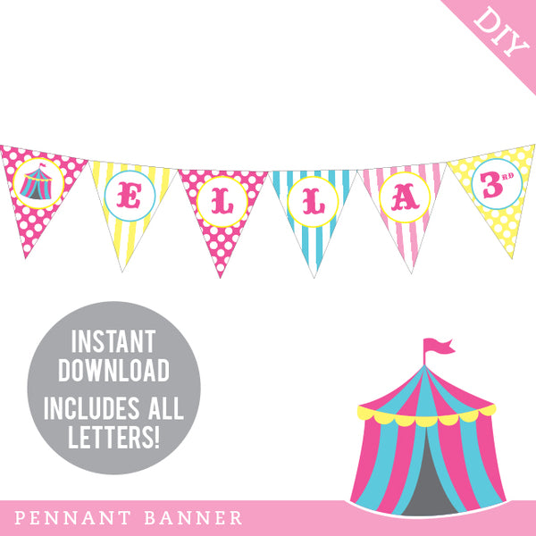 Pink Carnival Party Pennant Banner (INSTANT DOWNLOAD)