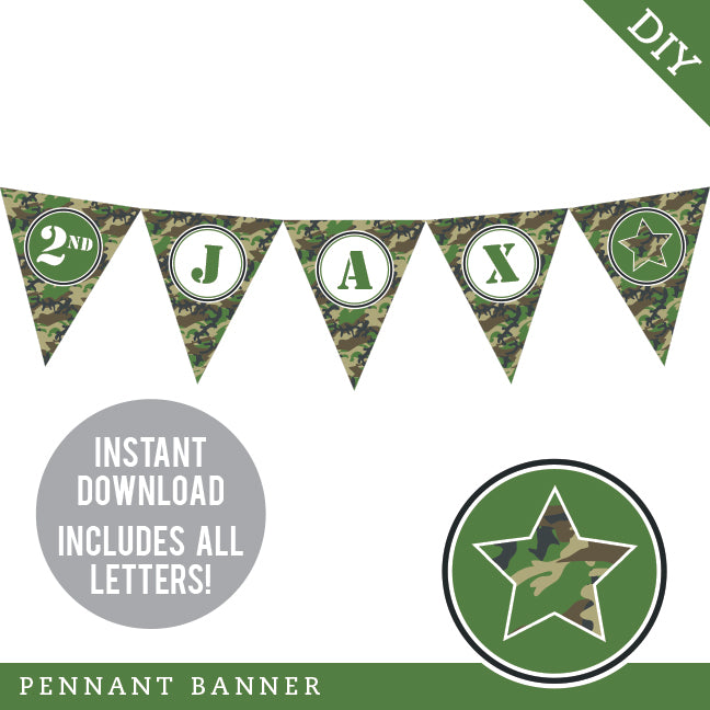 Army Party Pennant Banner (INSTANT DOWNLOAD)
