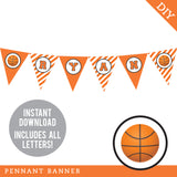 Basketball Party Pennant Banner (INSTANT DOWNLOAD)