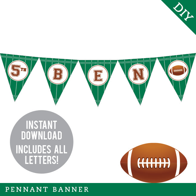 Football Party Pennant Banner (INSTANT DOWNLOAD)