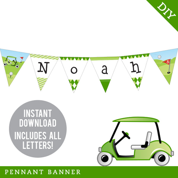 Golf Party Pennant Banner (INSTANT DOWNLOAD)