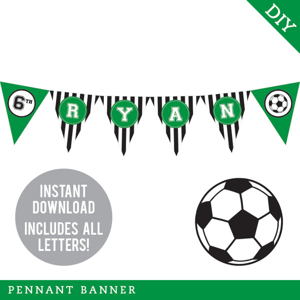 Soccer Party Pennant Banner (INSTANT DOWNLOAD)