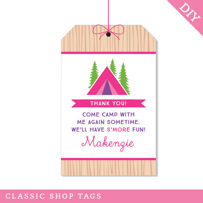 Pink Camping Party Editable Favor Tags (INSTANT DOWNLOAD)