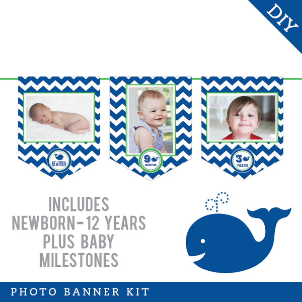 Whale Party Photo Banner Kit (INSTANT DOWNLOAD)