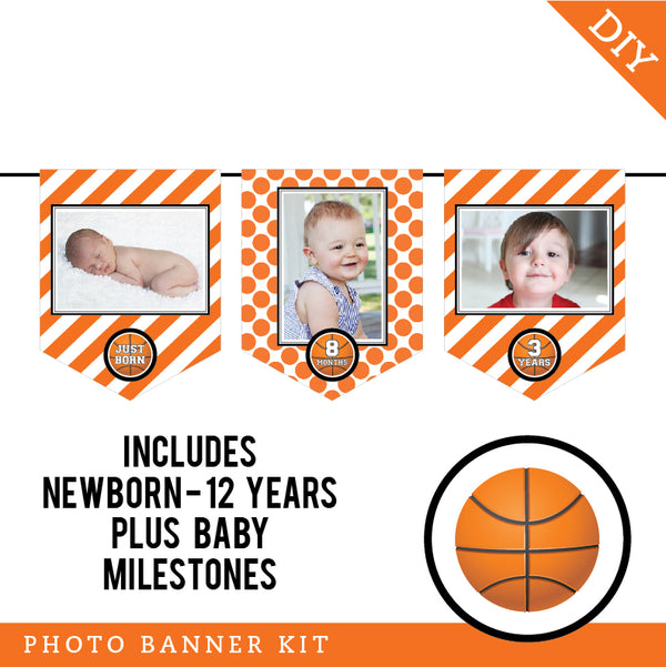 Basketball Party Photo Banner Kit (INSTANT DOWNLOAD)