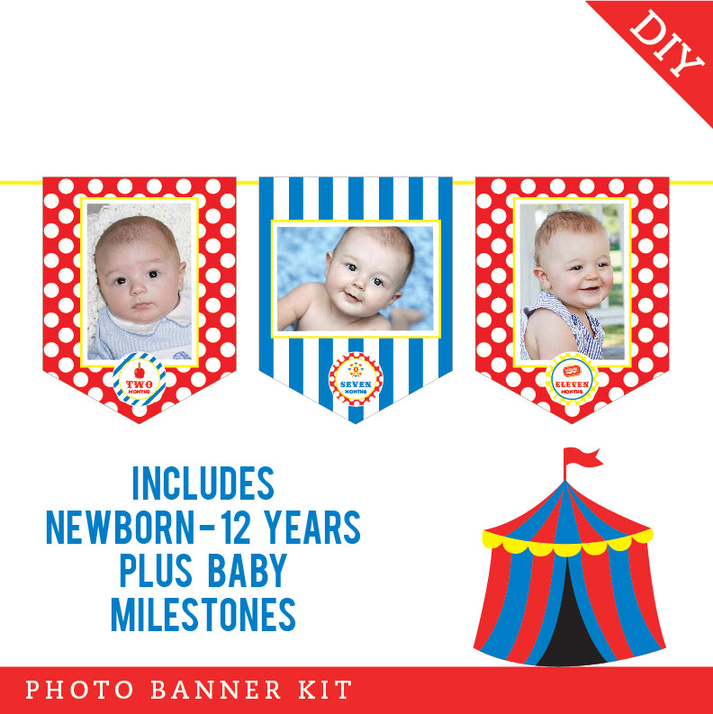 Carnival Party Photo Banner Kit (INSTANT DOWNLOAD)