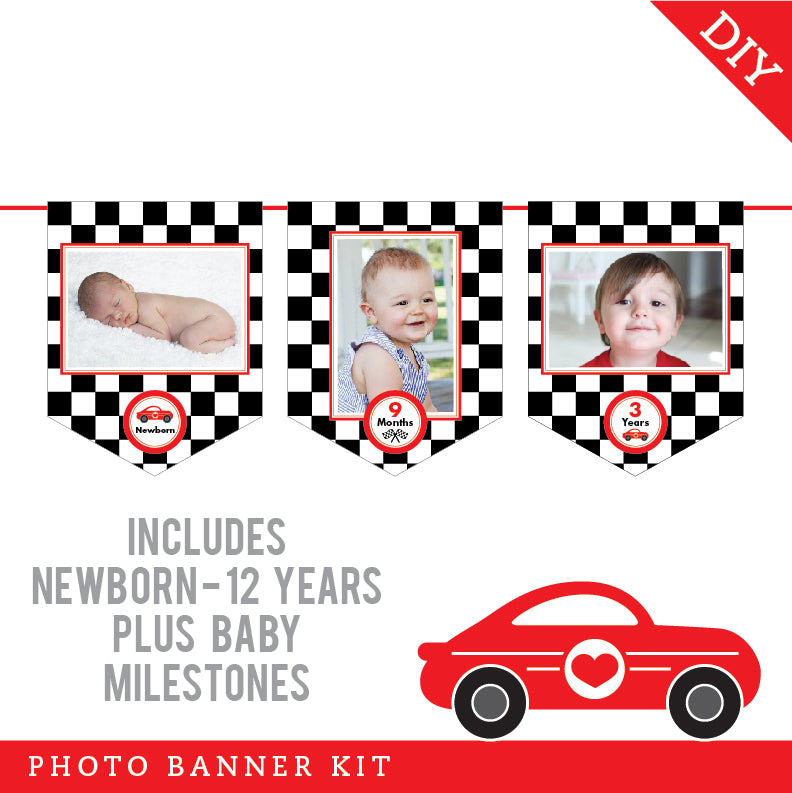 Race Car Party Photo Banner Kit (INSTANT DOWNLOAD)