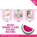 Pink Watermelon Party Photo Banner Kit (INSTANT DOWNLOAD)