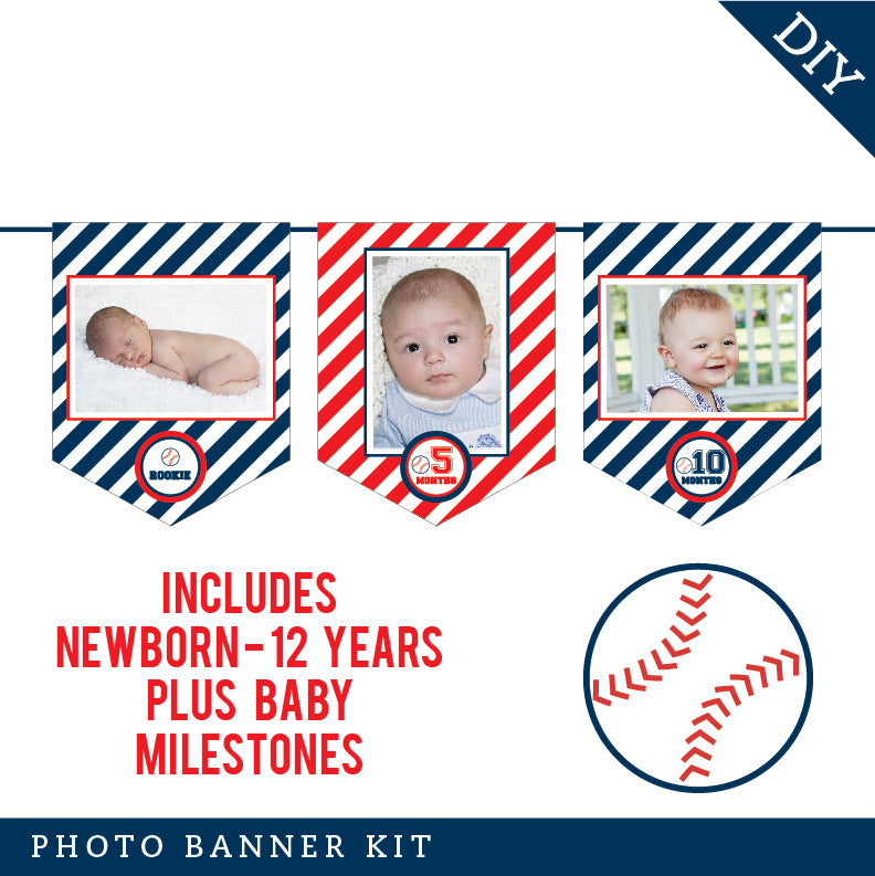 Baseball Party Photo Banner Kit (INSTANT DOWNLOAD)