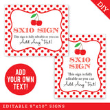 Cherry Party Signs - Editable and Printable 8x10 Signs (INSTANT DOWNLOAD)