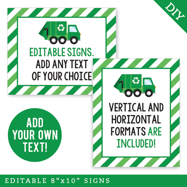 Garbage Truck Party Signs - Editable and Printable 8x10 Signs (INSTANT DOWNLOAD)