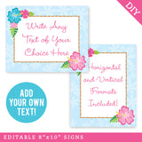 Luau Party Signs - Editable and Printable 8x10 Signs (INSTANT DOWNLOAD)