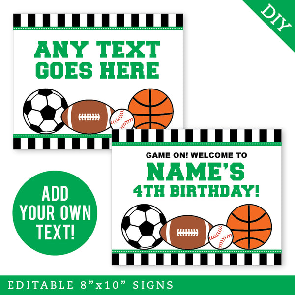 Green Sports Party Signs - Editable and Printable 8x10 Signs (INSTANT DOWNLOAD)