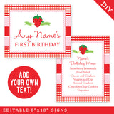 Strawberry Party Signs - Editable and Printable 8x10 Signs (INSTANT DOWNLOAD)