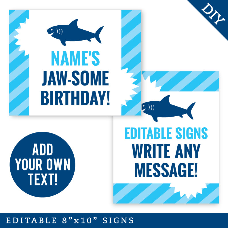 Shark Party Signs - Editable and Printable 8x10 Signs (INSTANT DOWNLOAD)