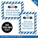 "Police Party 8"" x 10"" Editable Party Signs (INSTANT DOWNLOAD)"