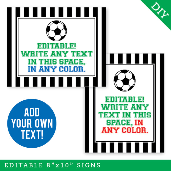 Soccer Party Signs - Editable and Printable 8x10 Signs (INSTANT DOWNLOAD)