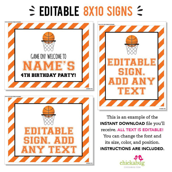 Basketball Party Signs - Editable and Printable 8x10 Signs (INSTANT DOWNLOAD)
