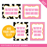 Pink Vintage Farm Party Signs - Editable and Printable 8x10 Signs (INSTANT DOWNLOAD)