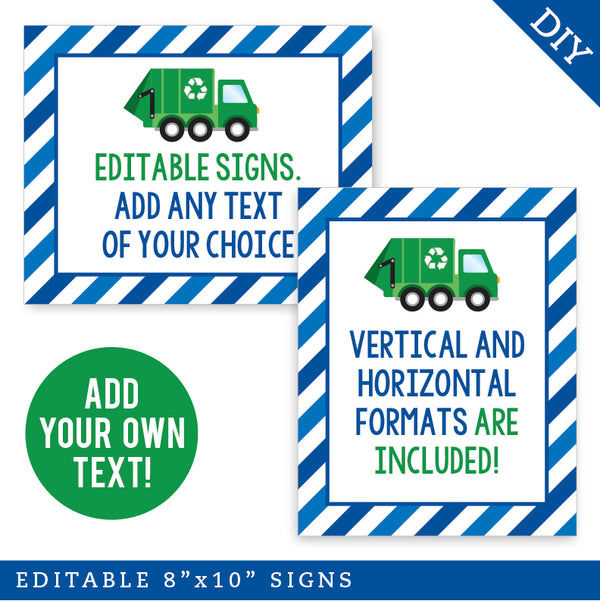 Blue Garbage Truck Party Signs - Editable and Printable 8x10 Signs (INSTANT DOWNLOAD)