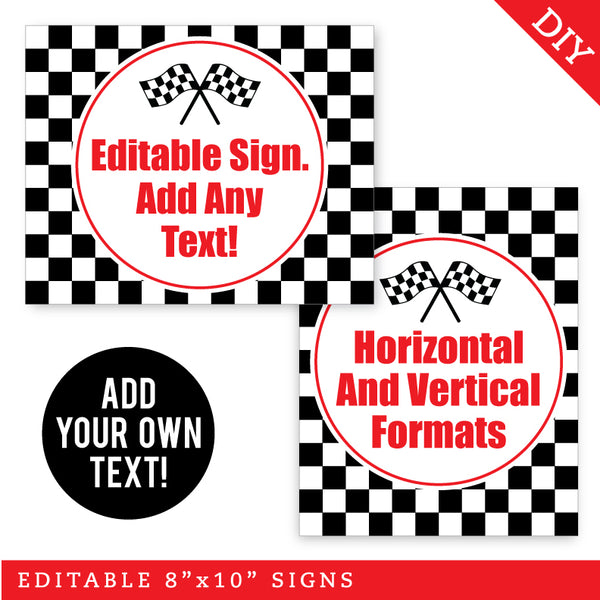 Checkered Flag Party Signs - Editable and Printable 8x10 Signs (INSTANT DOWNLOAD)