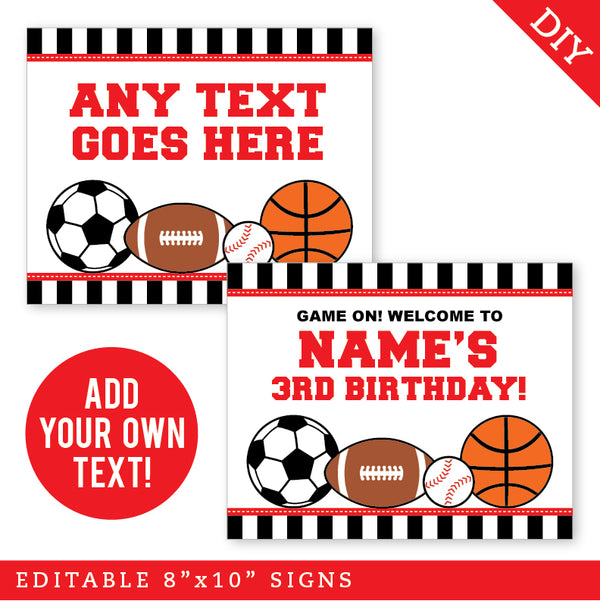 Red Sports Party Signs - Editable and Printable 8x10 Signs (INSTANT DOWNLOAD)