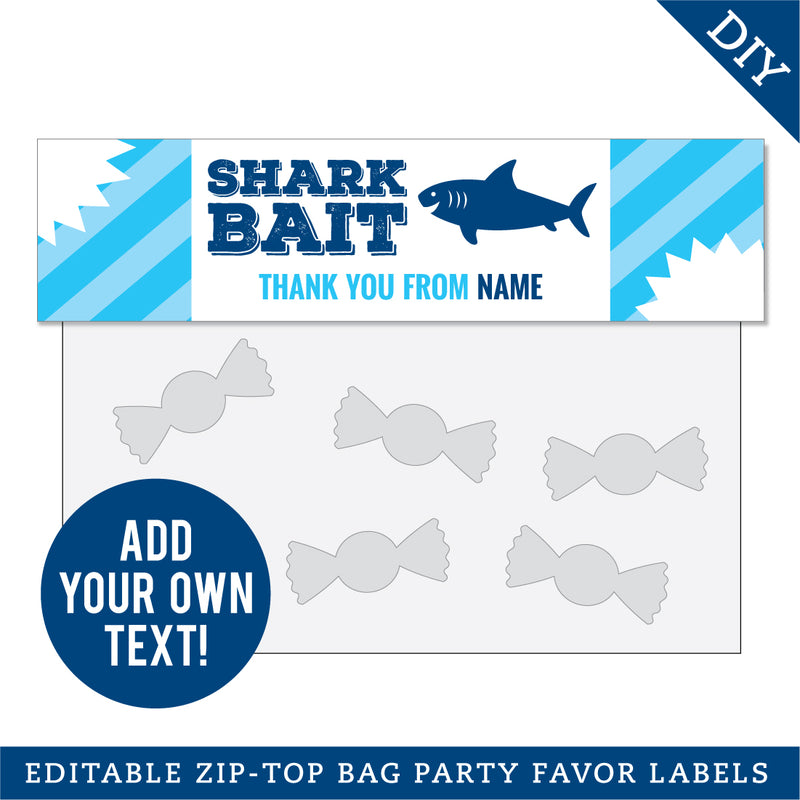 Shark Party Editable Treat Bag Label (INSTANT DOWNLOAD)