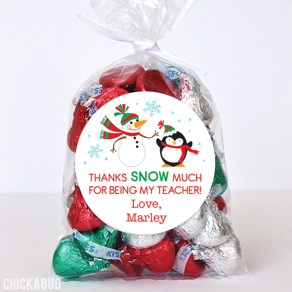"""Thanks SNOW Much"" Teacher Appreciation Stickers"