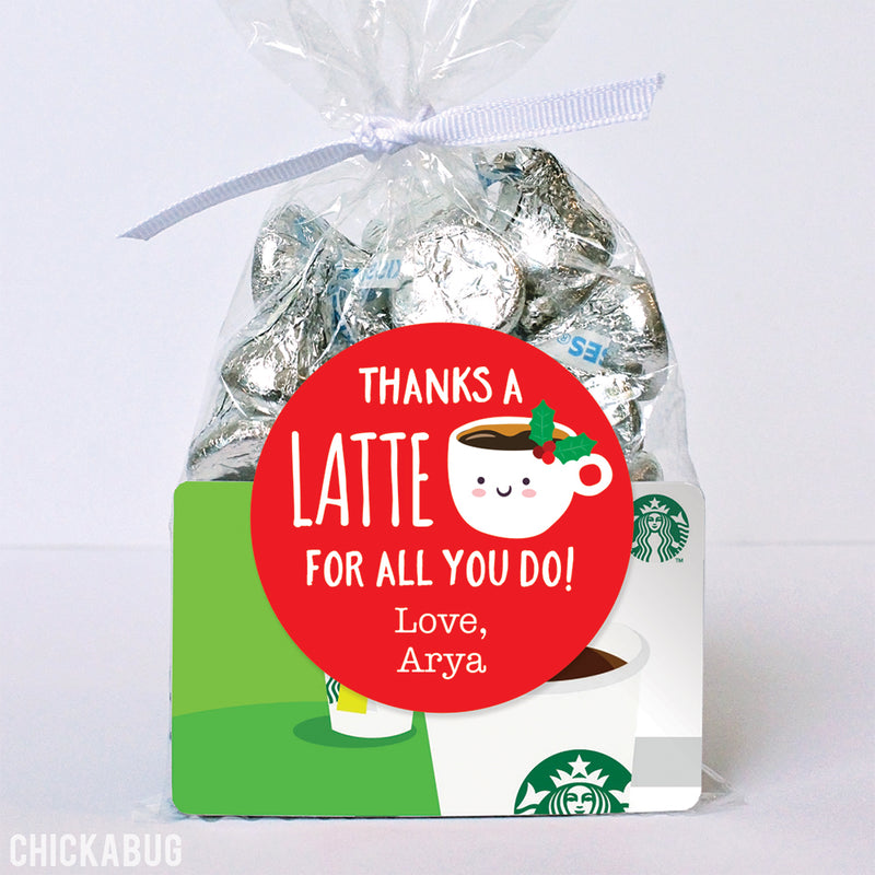 """Thanks a Latte"" Christmas Appreciation Stickers"