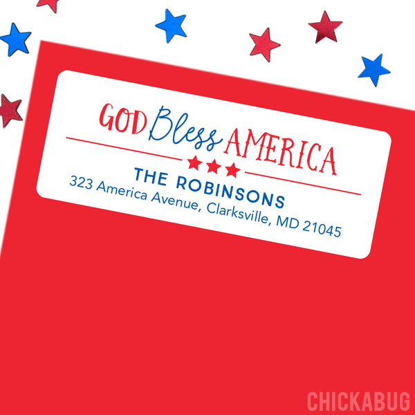 God Bless America Address Labels