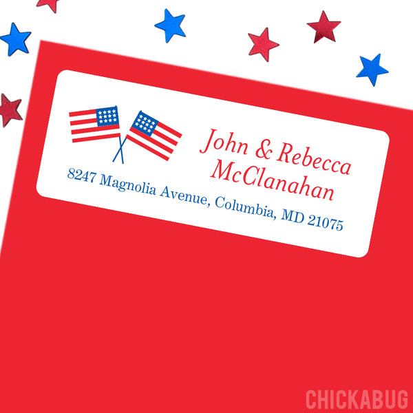 American Flags Address Labels