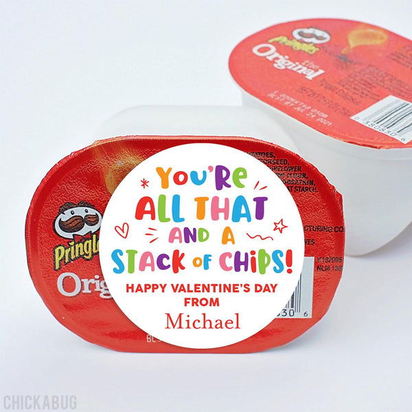 "Potato Chips ""All That and a Stack of Chips"" Valentine's Day Stickers"
