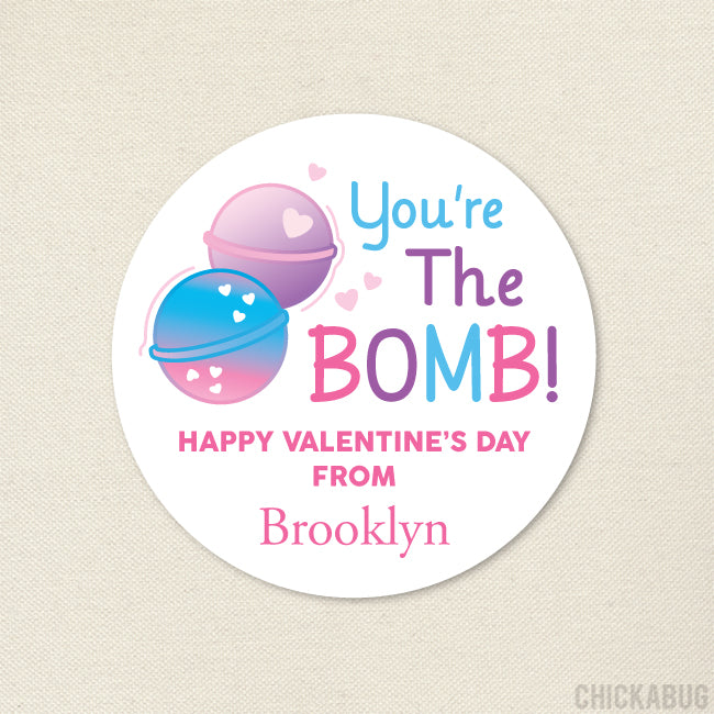 Bath Bomb Valentine's Day Stickers