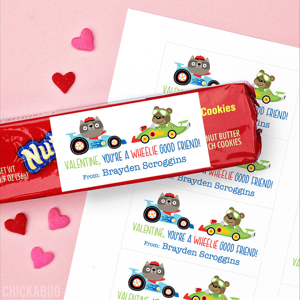 """You're a Wheelie Good Friend"" Animal Racers Valentine's Day Gift Labels - Blue"